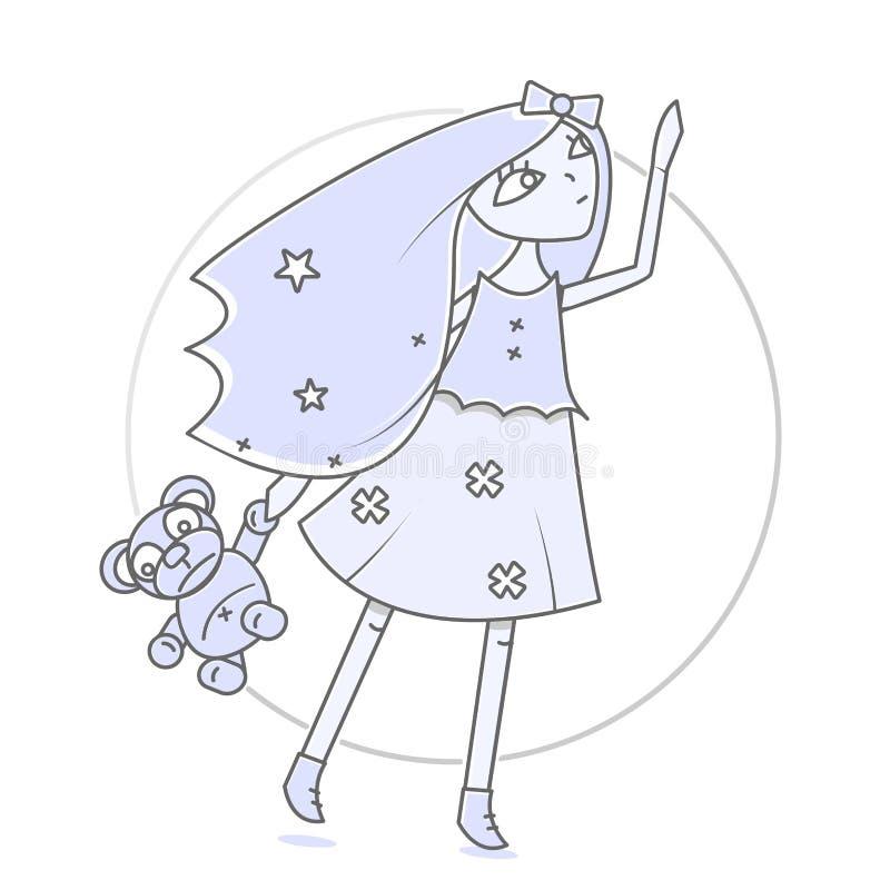 Wspaniała dziewczyna z misiem w ręce Nowożytna ilustracja dla książek i magazynów Rozciągliwość w kierunku nieba ilustracji