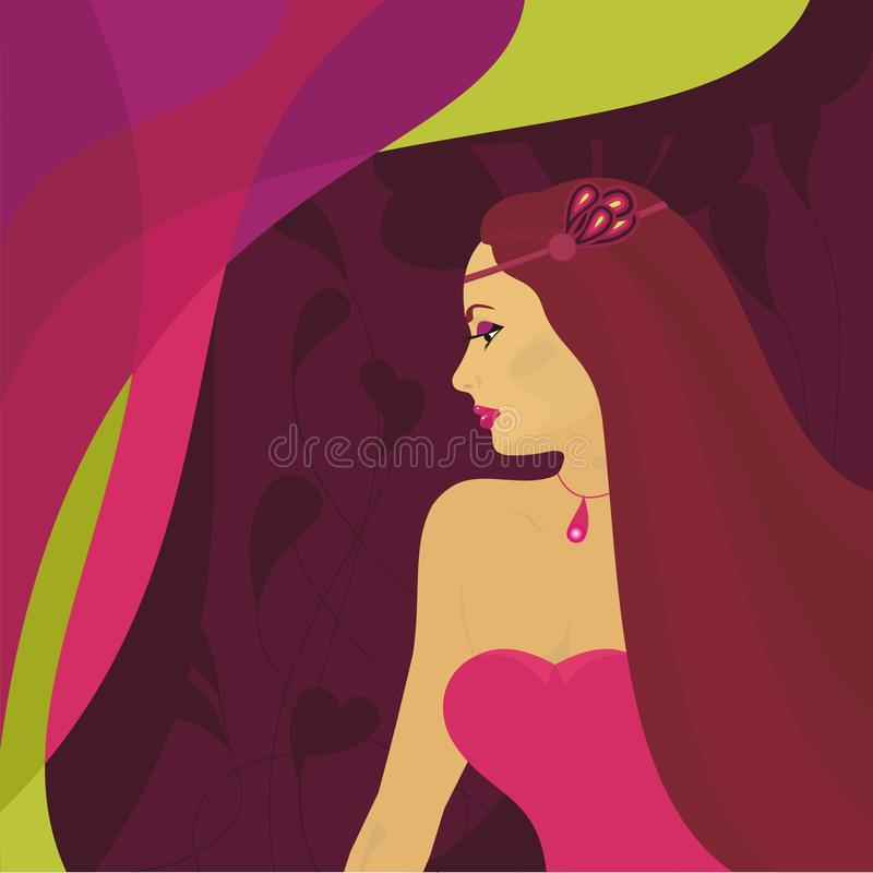 wspaniała jaskrawy tło dziewczyna ilustracja wektor
