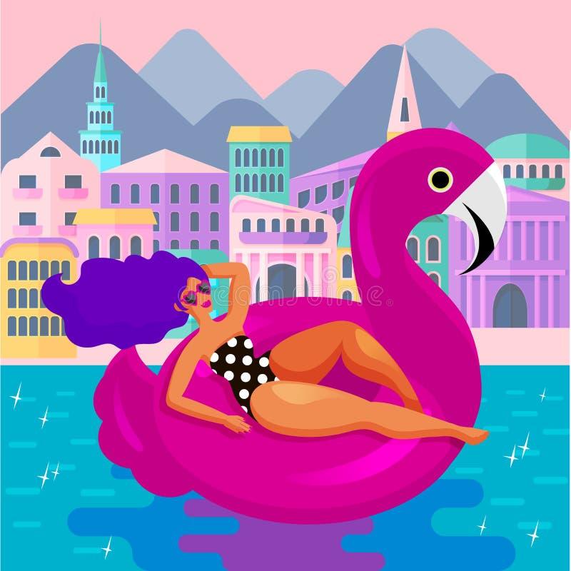 Wspaniała kobieta odpoczywa w ogromnym modnym dopłynięcie okręgu w postaci różowego flaminga na tle hotele i wille royalty ilustracja