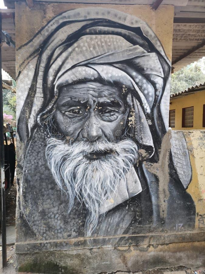Wspaniała sztuka uliczna / graffiti w marolowej wiosce artystycznej Mumbai obraz stock