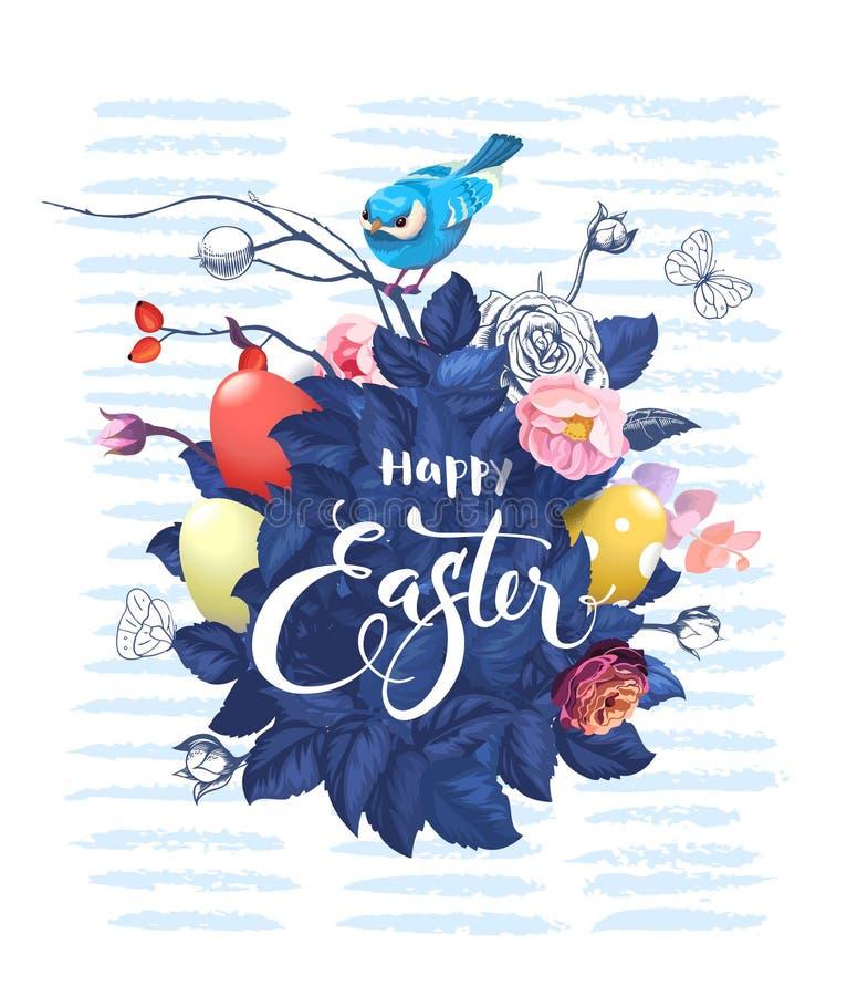 Wspaniała wiązka wzrastał kwiaty, liście, kolorowi Wielkanocni jajka, ręki literowanie i śliczny mały ptasi obsiadanie na wierzch ilustracja wektor