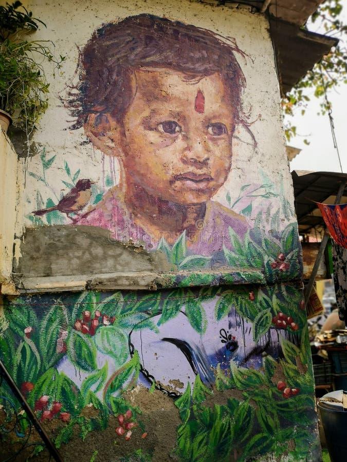 Wspaniałe graffiti sztuki ulicznej dziewczynki w Mahim East Mumbai zdjęcia stock
