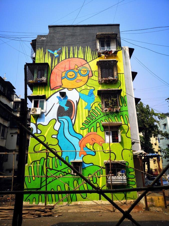Wspaniałe graffiti sztuki ulicznej w Mahim East Mumbai obraz stock