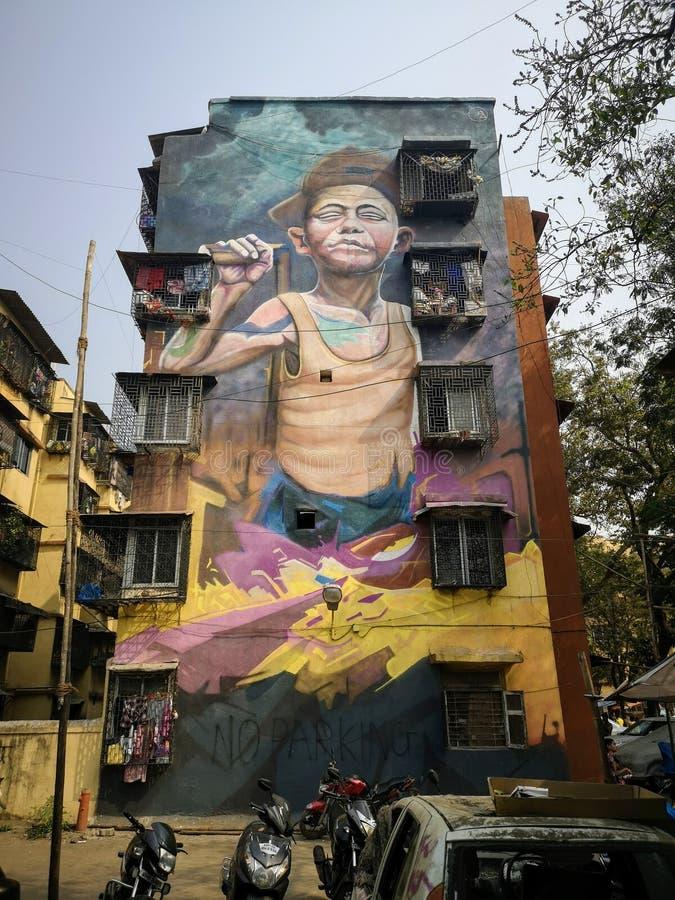 Wspaniałe graffiti sztuki ulicznej w Mahim East Mumbai zdjęcie stock