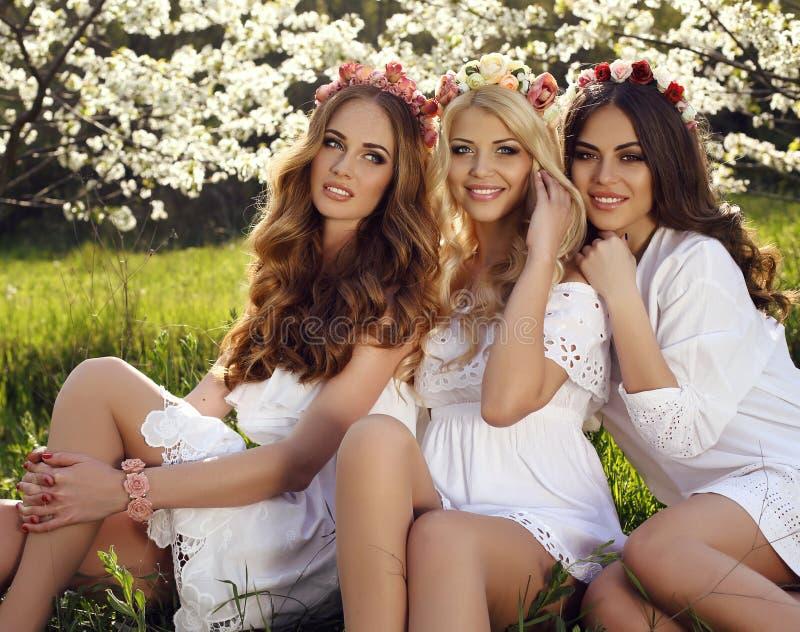 Wspaniałe zmysłowe kobiety z luksusowym włosy w eleganckiej sukni pozuje w okwitnięciu uprawiają ogródek obrazy stock
