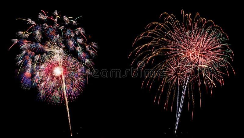 Wspaniałego Wibrującego fajerwerku panoramiczny widok fotografia royalty free