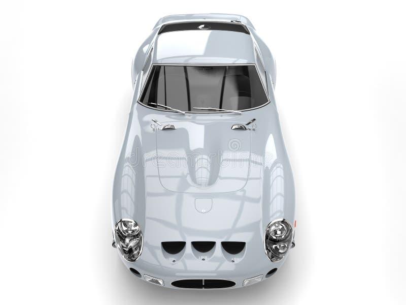 Wspaniały błyszczący srebny rocznika samochód wyścigowy - odgórny widok royalty ilustracja