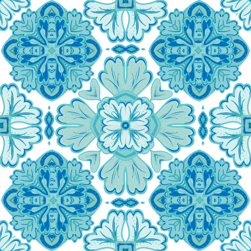 Wspaniały bezszwowy patchworku wzór od zmroku - błękitnego i białego marokańczyka, portugalczyk płytki, Azulejo, ornamenty ilustracji