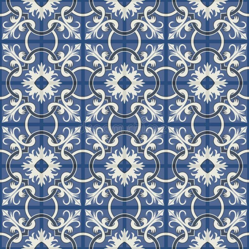 Wspaniały bezszwowy patchworku wzór od zmroku - błękitnych i białych marokańczyk płytek, ornamenty ilustracji
