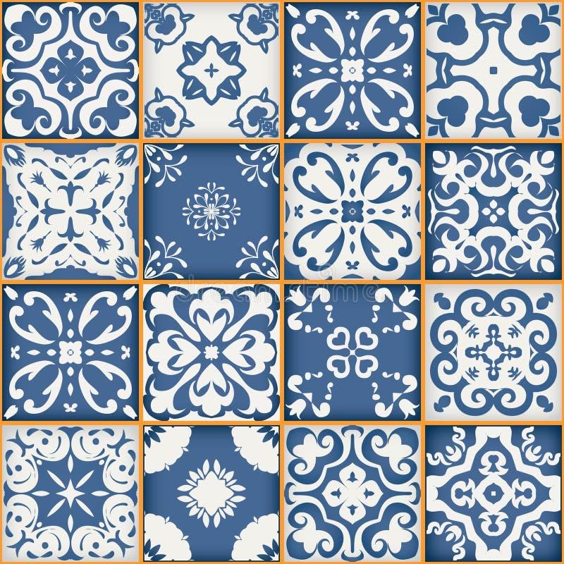 Wspaniały bezszwowy patchworku wzór od zmroku - błękitnych i białych marokańczyk płytek, ornamenty Może używać dla tapety royalty ilustracja