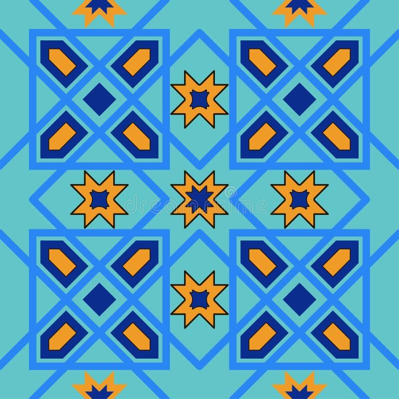 Wspaniały bezszwowy wzór od błękitnych marokańczyk płytek, ornamenty royalty ilustracja