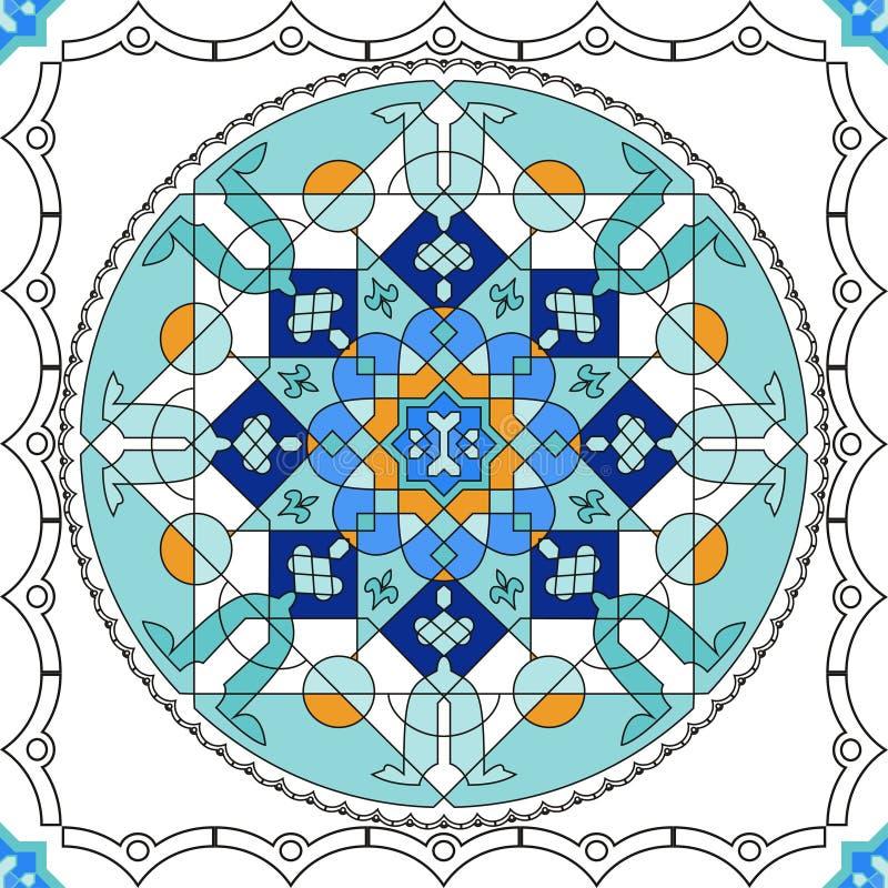 Wspaniały bezszwowy wzór od błękitnych marokańczyk płytek, ornamenty ilustracja wektor