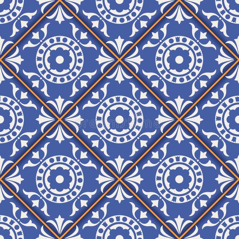 Wspaniały bezszwowy wzór od zmroku - błękitnego i białego marokańczyka, portugalczyk płytki, Azulejo, ornamenty ilustracja wektor