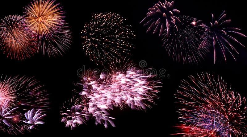 Wspaniały fajerwerk ustawiający na czarnym tle zdjęcia stock