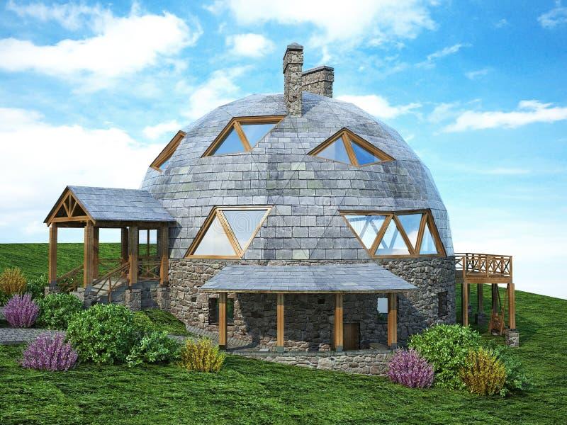 Wspaniały kopuła dom przyszłość Zielony projekt, innowacja, architektura ilustracji