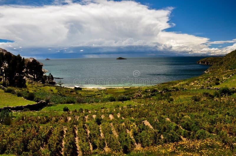 Wspaniały krajobraz Isla Del Zol, Boliwia zdjęcia stock