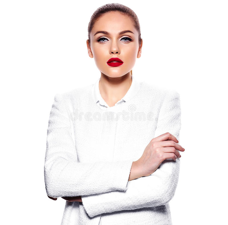 Wspaniały młody caucasian seksowny gorący bizneswoman obraz stock