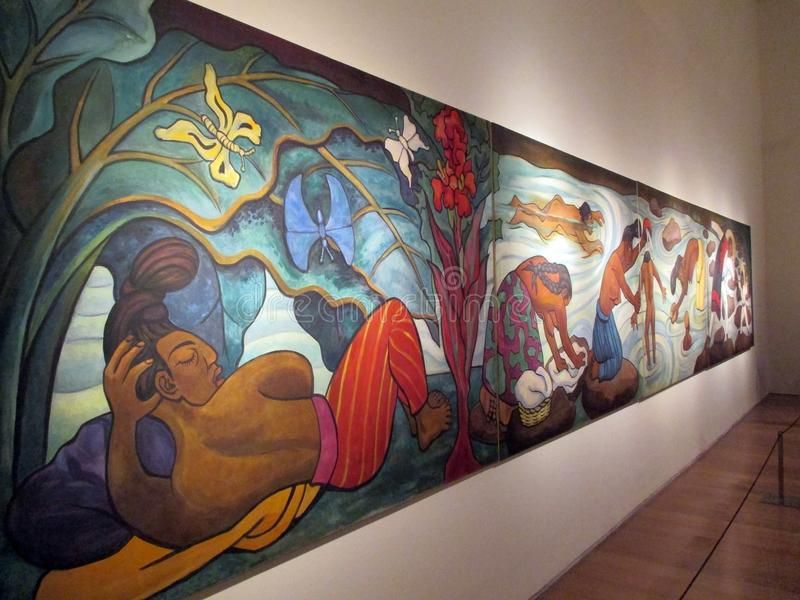 Wspaniały monumentalny obraz Diego Rivera eksponował w Malba - Baile w Tehuantepec - zdjęcie royalty free