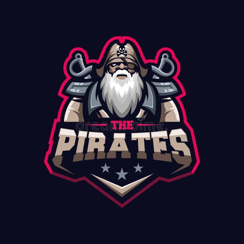 Wspaniały pirata logo szablon gotowy ilustracja wektor