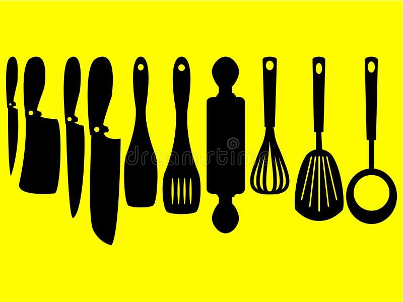 Wspaniały projekt set sylwetki kuchenni narzędzia ilustracja wektor