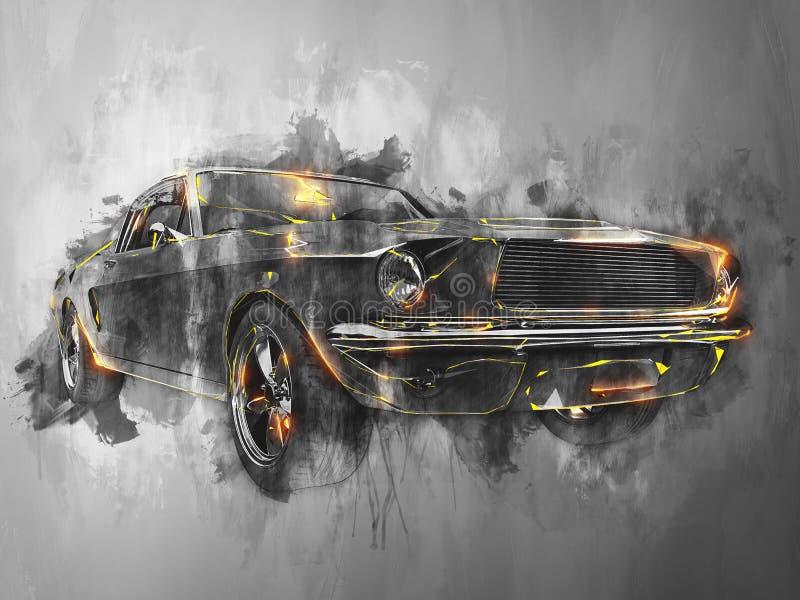 Wspaniały rocznika mięśnia samochód - nowożytna czarny i biały ilustracja royalty ilustracja