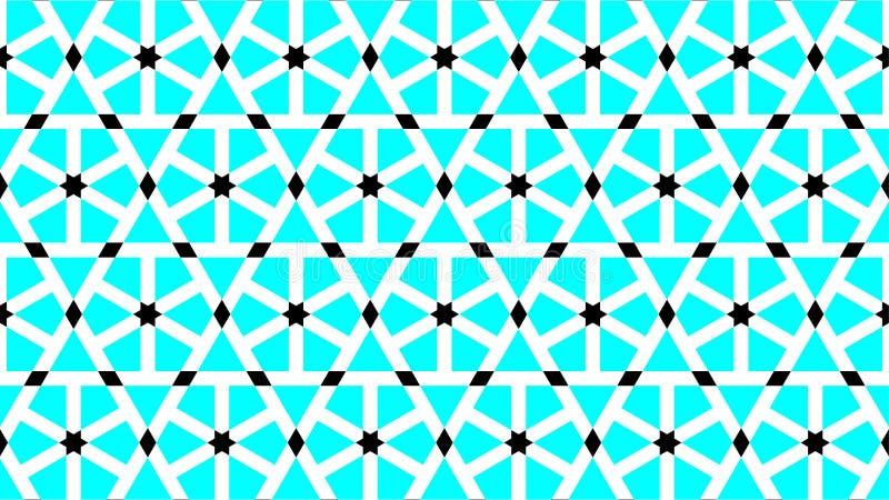 Wspaniały tło dla heksagonalny i gwiazda kształtuję grupowy składać się z cyan, czarny i biały kolor, abstrakcjonistyczny geometr royalty ilustracja