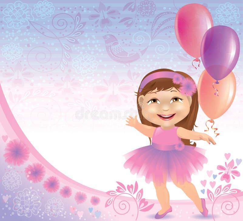 Wspaniały urodzinowy tło z małą dziewczynką ilustracja wektor