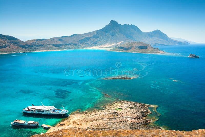 Wspaniały widok od wyspy z fortecznym Gramvousa zdjęcia royalty free