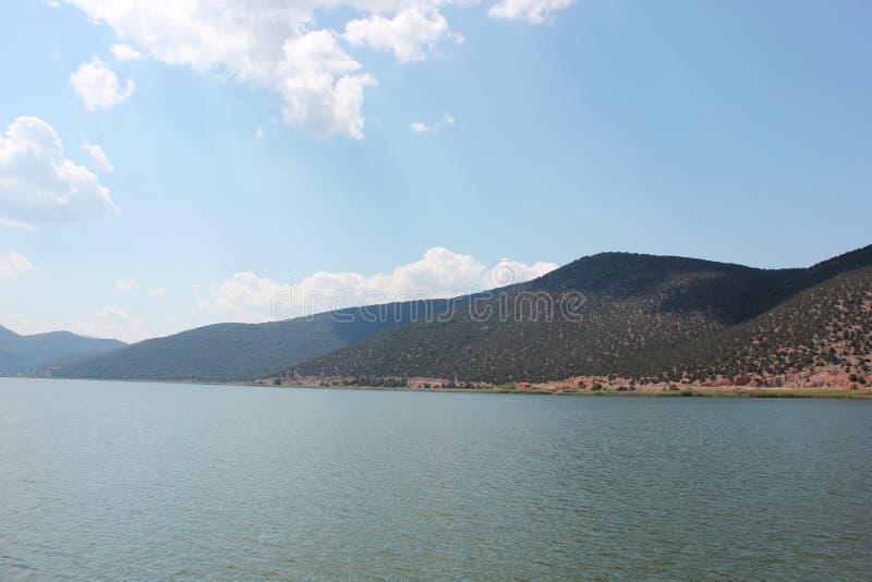 Wspaniały widok przy Prespes Jeziorny Florina Grecja fotografia royalty free