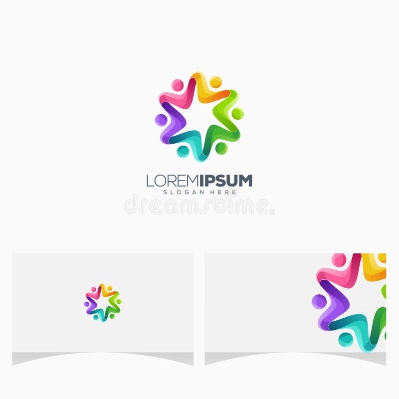 Wspaniali kolorowi ludzie logo projekta druku ilustracja wektor