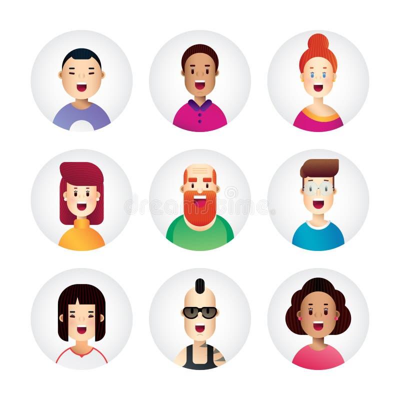 Wspaniali ludzie avatar kolekci w nowym płaskim projekta stylu Biznesowe ikony dla sieci, app i druku projekta, royalty ilustracja