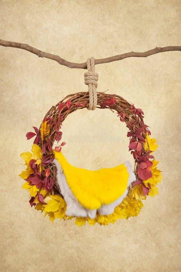 Wsparcia dla fotografować noworodków, breloczka pierścionku na gałąź z kolorem żółtym i czerwieni, opuszczają na beżowym tle fotografia royalty free