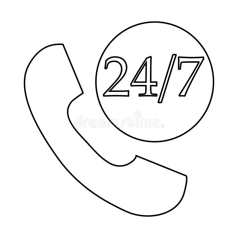 Wspiera centrum telefoniczne 24 godziny ikony, konturu styl ilustracji