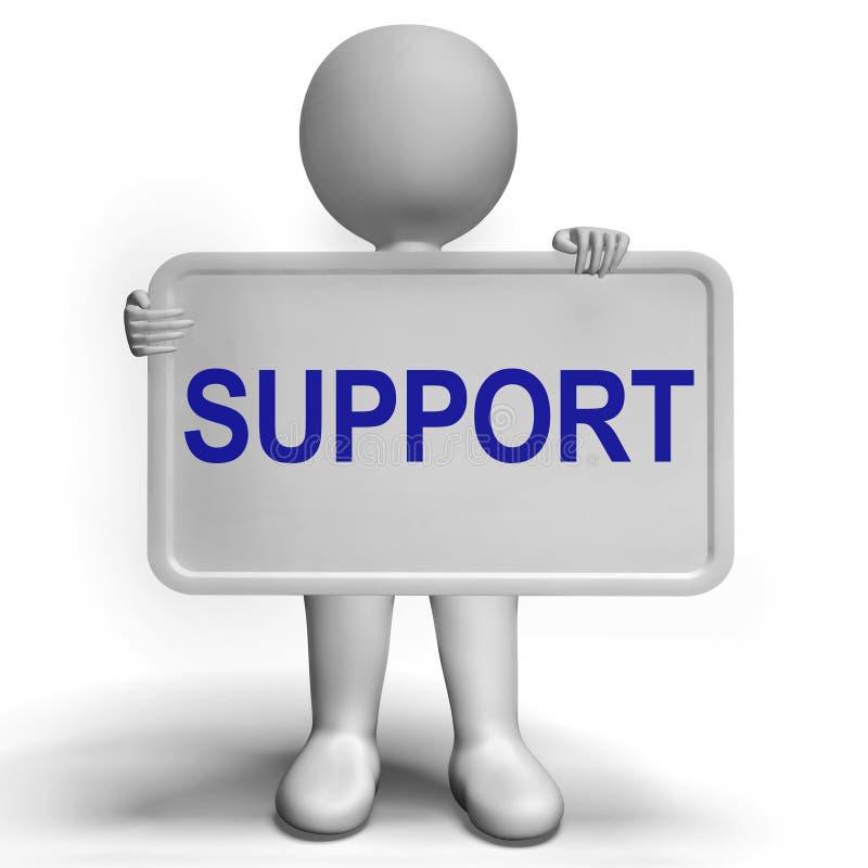 Wspiera Na Szyldowej Pokazuje klient pomocy, rada I ilustracja wektor