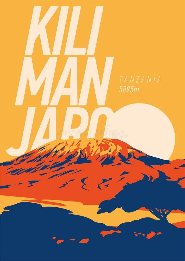 Wspina się Kilimanjaro w Afryka, Tanzania plenerowy przygody plakat Wysoki wulkan na ziemi przy zmierzch ilustracją ilustracji