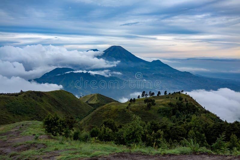 Wspina się Merapi i Merbabu w tle brać od góry Prau zdjęcie royalty free