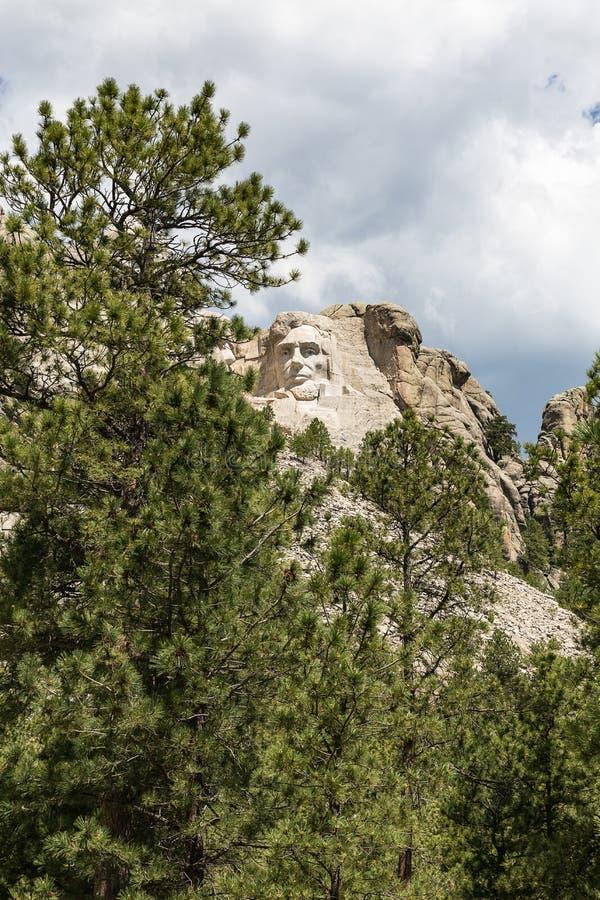 Wspina się Rushmore Krajowego pomnika z rzeźbą Abraham Linco fotografia royalty free