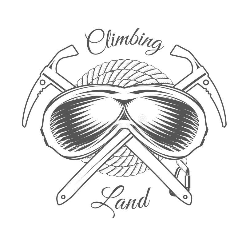 Wspinaczkowa Gruntowa wycieczka Alpejskiego klubu Wektorowy emblemat druk - odznaka - Halna przygoda - ikona - ilustracja wektor