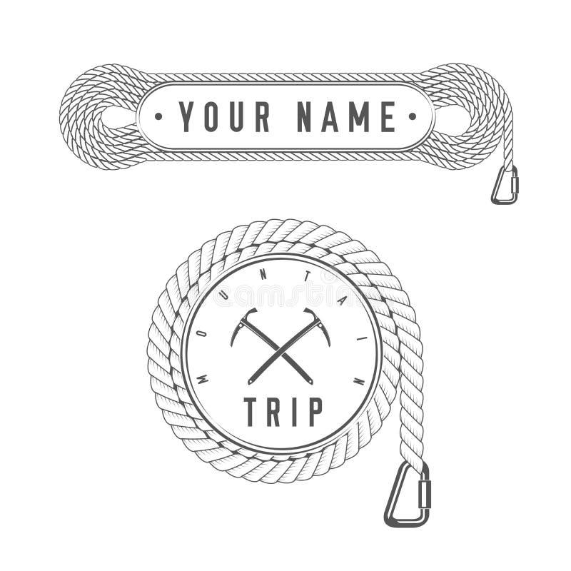 Wspinaczkowa wycieczka Alpejskiego klubu Wektorowy emblemat druk - odznaka szablon - Halna przygoda - ikona - ilustracji
