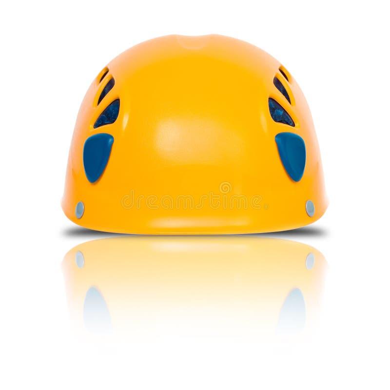 wspinaczkowy frontowy hełma pomarańcze widok fotografia royalty free