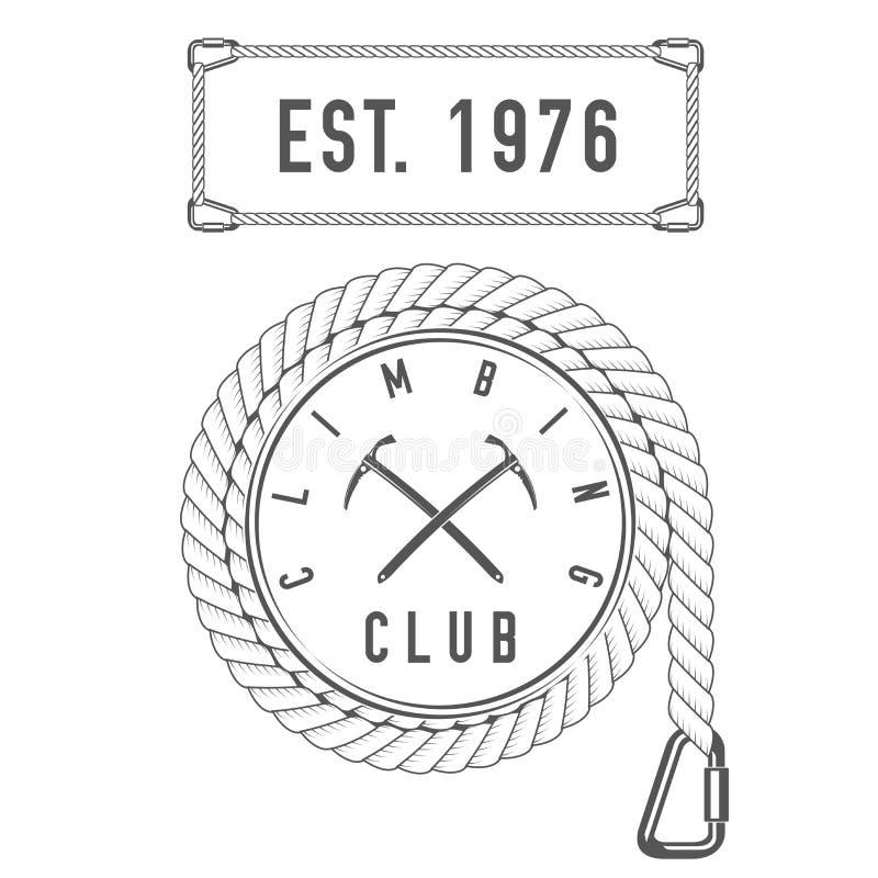 Wspinaczkowy klub Alpejskiej wycieczki Wektorowy emblemat druk - odznaka szablon - Halna przygoda - ikona - ilustracji