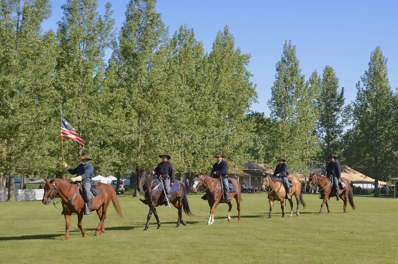 Wspinający się konie i żołnierze niesie kolory obrazy stock