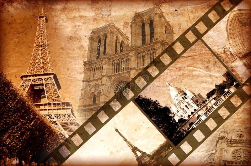wspominek Paris stylowy rocznik ilustracji