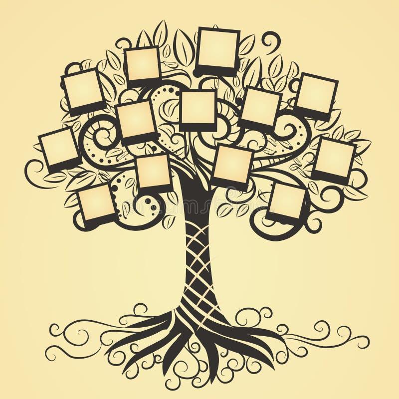 Wspominki wektorowy drzewo z fotografią ilustracji