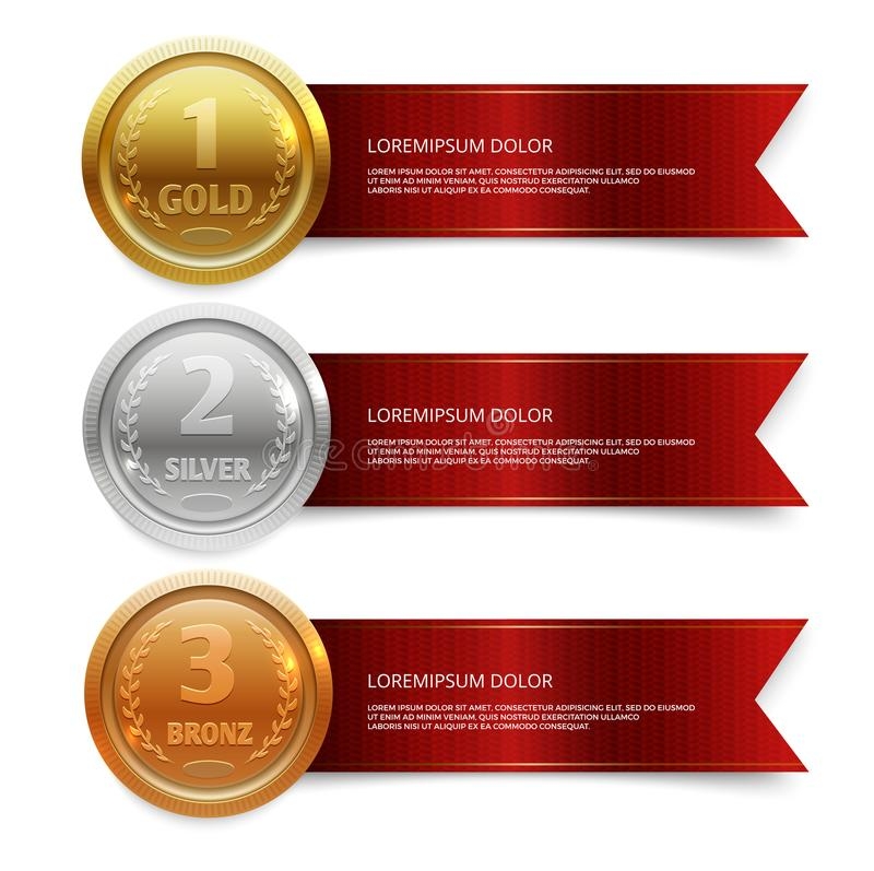 Wstawia się złoto i brązowieje medails z czerwonymi tasiemkowymi sztandarami, srebro ilustracja wektor