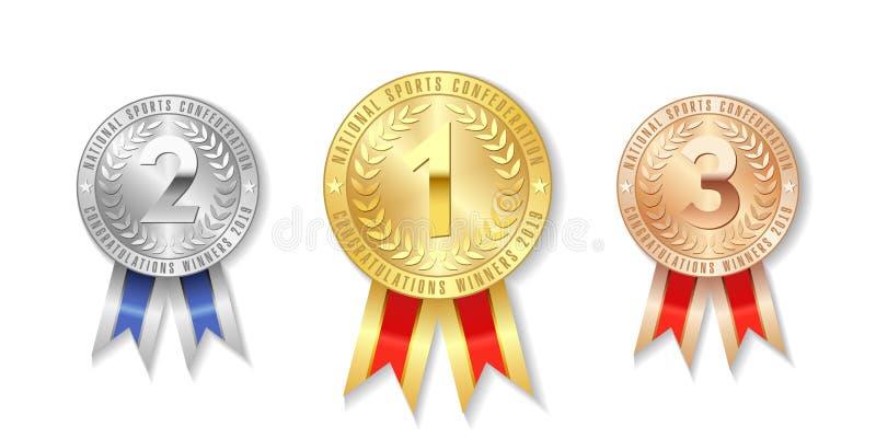 Wstawia si? z?ota, srebra i br?zu nagrody medale z czerwonymi faborkami, ilustracja wektor