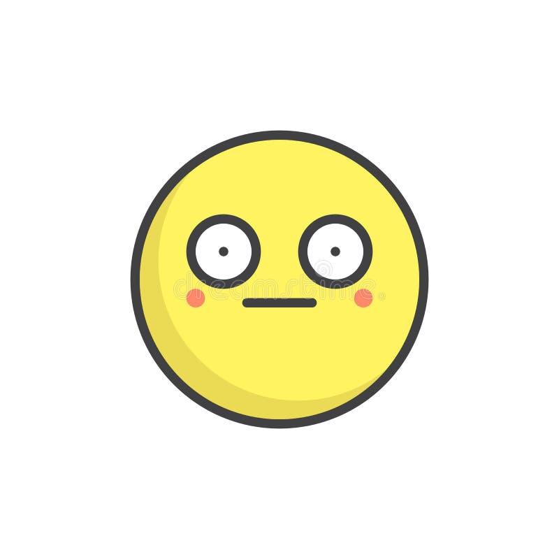 Wstyd twarzy konturu emoticon wypełniająca ikona ilustracja wektor