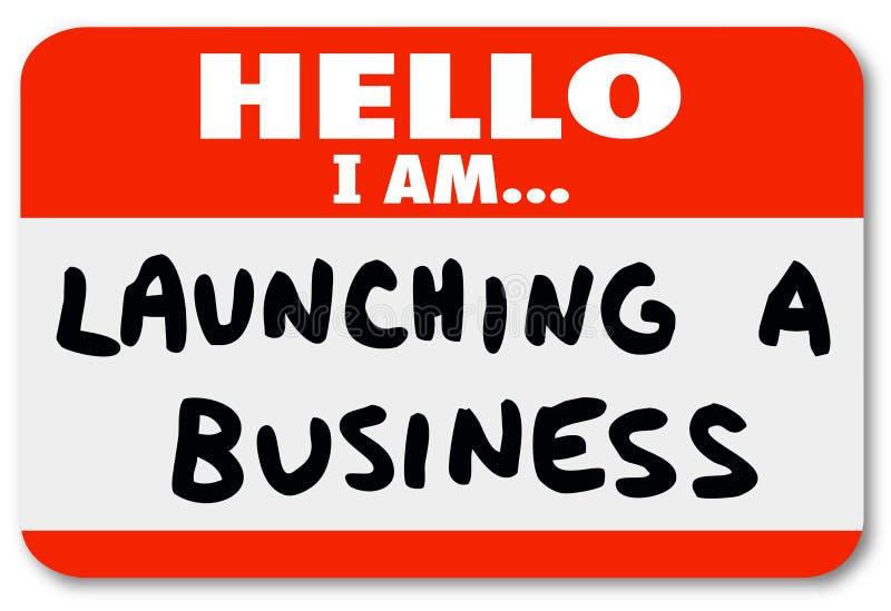 Wszczynać Biznesowego imienia etykietki Majcheru Nowy Firma początek ilustracji