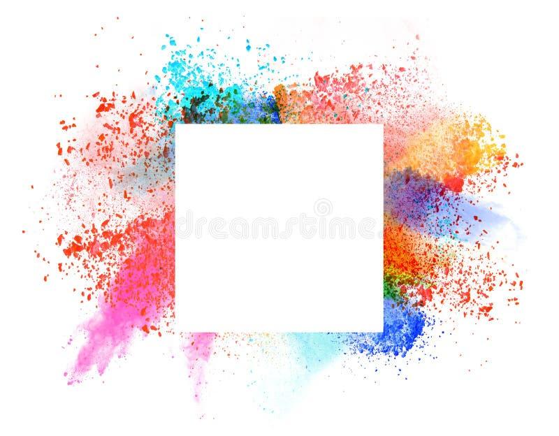 Wszczynający kolorowy proszek nad bielem obraz stock