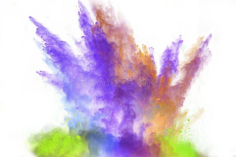 Wszczynający kolorowy proszek nad bielem zdjęcie stock